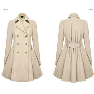 Fashion Womens Warm Double Breasted Long Parka Coat Trench Outwear pictures & photos