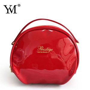 2015 High Quality Red Shining PU Round Cosmetic Bag pictures & photos