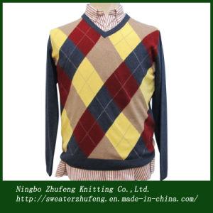Men′s Intarsia V Neck Pullover Sweater Nbzf0055