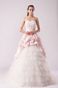 Elegant Backless Strapless Lace Chiffon Organza a-Line Wedding Dresses Bridal Gowns