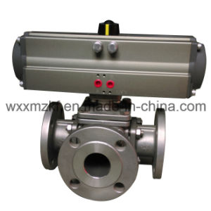 3 Way Pneumatic Actuator T Type Ball Valve for Powder Handing pictures & photos