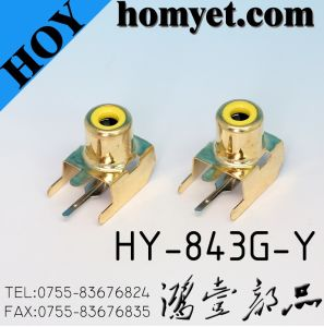 2pin RCA Connector/RCA Jack in Yellow (HY-843G-Y) pictures & photos
