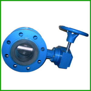 Rubber Seal Double Flange Butterfly Valve with Worm Gear pictures & photos