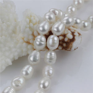 Snh 10mm Rice a Necklace and Bracelet Wedding Freshwater Pearl Set pictures & photos