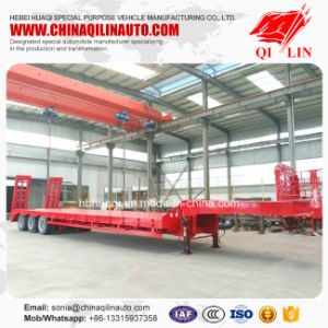 3 Axis Low Flat Bed Semi Trailer for Building Machinery Transportation pictures & photos