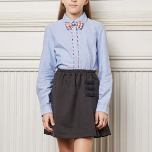 Newest Style High Grade Light Color School Uniforms for Senior School Girl′s Shirt and Skirt pictures & photos
