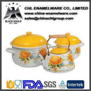 China Supplier 5PCS Flower Decal Enamel Cast Iron Cookware Set pictures & photos