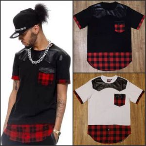 Hip Hop Man Ffashion Plaid Shirt Casual Patch PU Leather pictures & photos