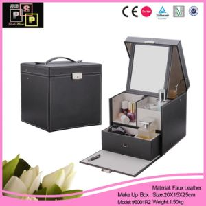 Leather Cosmetic Box Lock Mirror Makeup Kit Box (6001R2) pictures & photos
