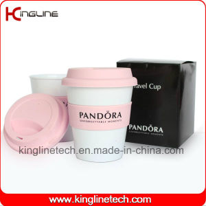 Cutom Color 350ml Silicone Coffee Cup with Sillicone Band and Cover (KL-CP005) pictures & photos