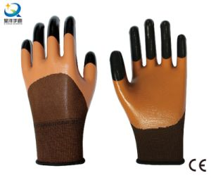 Polyester Shell Nitrile Half Coated Safety Work Gloves (N7001) pictures & photos