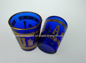 Pigment Blue Shot Glass with Gold Rim pictures & photos