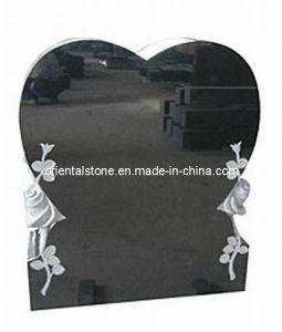Black Granite Heart Monument, Memorial Flower Carving Monument