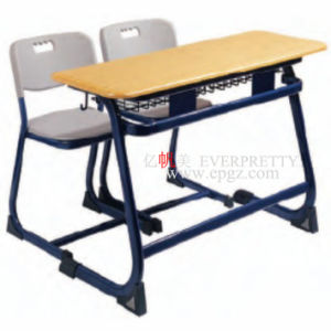 Pencial Double Desk with Two Chairs for Used School Furniture pictures & photos