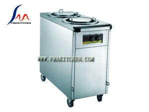 Two Columns Plate Warmer Cart/ Electric Dish Warmer, All Stainless Steel, Wood & Stainless Steel pictures & photos