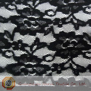 Stretch Lace Alternating Floral Black Fabric (M0504) pictures & photos