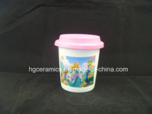 Sublimation Thermal Porcelain Cup with Silicone Lid, Double Walled Mug pictures & photos