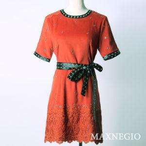 Leisure Apparel Casual Bandage Dress with Elegant Belt (3-6665)