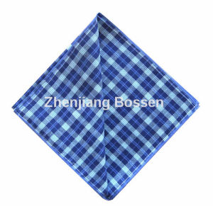 OEM Produce Blue Checked Printed Cotton Men′s Suit Handkerchief pictures & photos