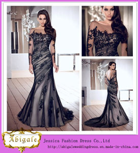 2014 New Fashion Black Mermaid Boat Neck Long Sleeve Appliqued Long Train Sexy Evening Gown in India pictures & photos