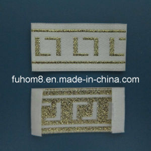 Gold Metallic Thread Garment Label with High Quality pictures & photos