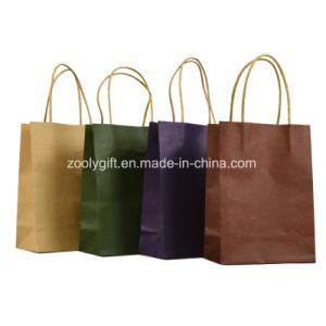 Wholesale Cheap Recycle Brown Kraft Paper Shopping Bags with Twisted Handle pictures & photos