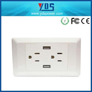 Us Type Double 3 Pin Wall Sockets Electrical USB Outlets pictures & photos