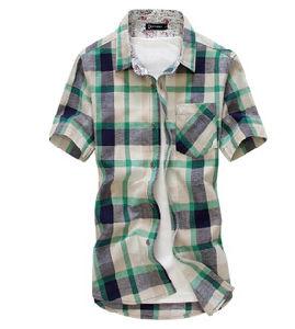 Simple Fashion Plaid Cotton Mens Shirt (L70)
