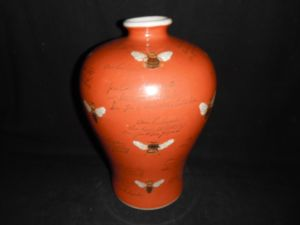 Porcelain for Display Hand Painted Red Background Vase