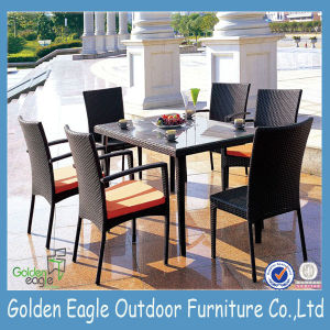 6 Seats PE Rattan Dining Room Table