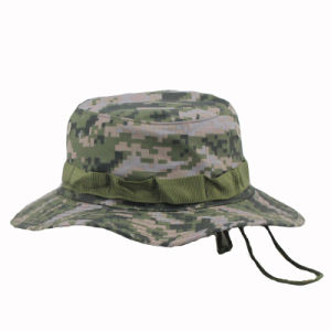Whosale Custom Camo Plain Bucket Hat with String pictures & photos