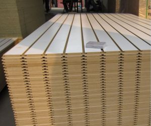 Orange Color Slotted MDF Board for Algeria/ Melamine MDF Board pictures & photos