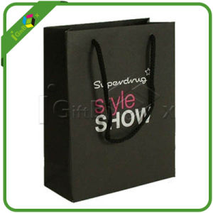 Custom Printed Black Paper Shopping Bag with Handles pictures & photos