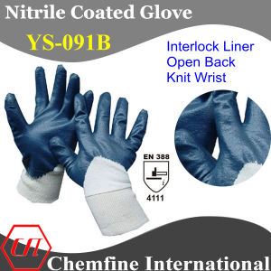 "Interlock Glove with Blue Nitrile Coating & Open Back & Knit Wrist/ En388: 4111/ Size 7"", 8"", 9"", 10 (YS-091B) pictures & photos"