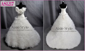 Sweetheart Neckline Accented with Handmade Leaves Fine Tulle Ruffled Skirt Wedding Dress (AS1217)