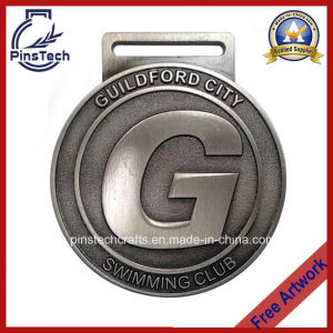 Swimming Club Medal, Antique Silver Finish pictures & photos