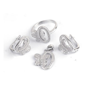 Butterfly 925 Silver Jewelry Set CZ Micro Pave Setting Jewelry pictures & photos