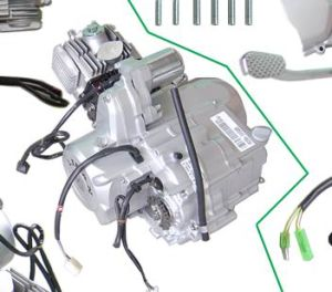 3 or Engine Double Clutch 110CC Elec-Starter, 4-Stroke (1P52FMH)