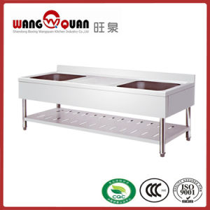 European Style Stainless Steel Sink with Undershelf and 2 Middle Bowl pictures & photos