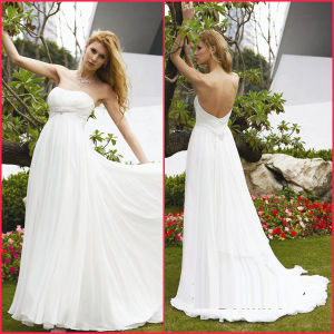 White Chiffon Formal Gown Beads Empire Wedding Dress H036 pictures & photos