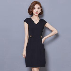 Elegant Ladies Deep V Neck Solid Color Slim Fit Dress pictures & photos