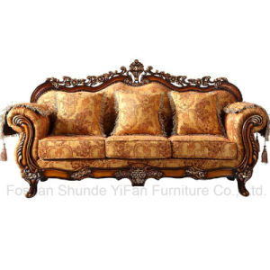 Classic Fabric Sofa with Wooden Table for Living Room Furniture (929) pictures & photos