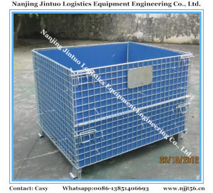 Foldable & Stackable Galvanized Metal Wire Mesh Pallet Cage for Warehouse Storage pictures & photos