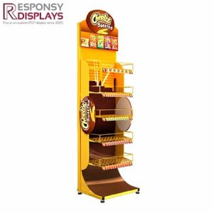 Retail Floor Snack Shelf Metal Food Display Racks with Header pictures & photos