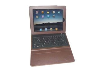 Bluetooth Keyboard With Folding Leather Protective Case for iPad/iPad2