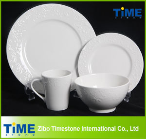 Royal Fine Ceramic Porcelain White Embossed Dinnerware Set pictures & photos