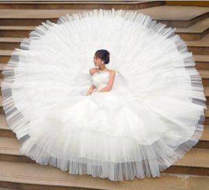2013 New Style Potrait Luxious Big Tail Wedding Dress (5612)