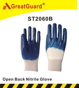 Cotton Interlock Nitrile Glove (ST2060B) pictures & photos