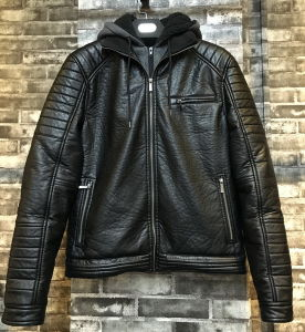 Black Motorcycle Men Leather PU Jacket with Tc Grey Hood pictures & photos