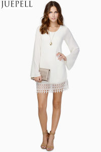 Women Explosion Models Lace Long-Sleeved Dress Hem Stitching Chiffon Dress Lady Dresses pictures & photos